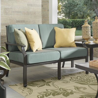 Brunelle Loveseat with Cushions Fabric: Spa Blue