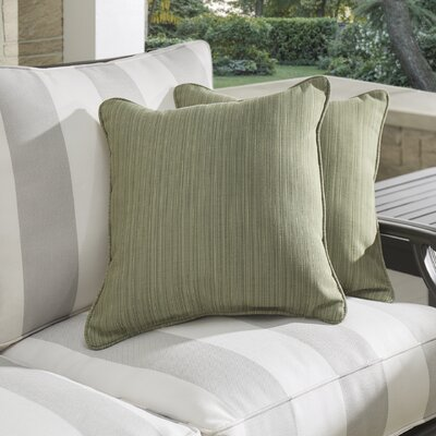 Baskerville Outdoor Sunbrella Throw Pillow Size: 18 x 18, Fabric: Dupione Laurel