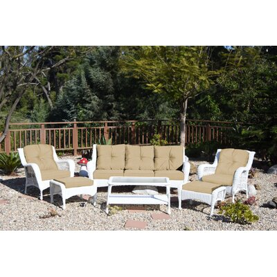 Herrin 6 Piece Wicker Seating Group with Cushions Fabric: Tan, Frame Finish: Espresso