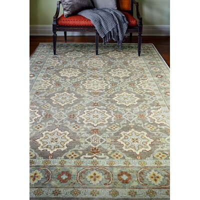 Crawley Hand-Knotted Taupe Area Rug Rug Size: 59 x 89