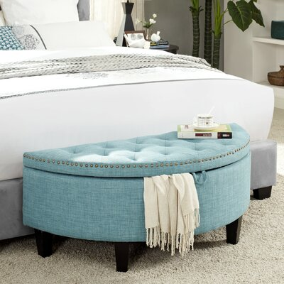 Silsden Linen Modern Contemporary Button Tufted Half Moon Storage Ottoman Upholstery: Light Blue Linen
