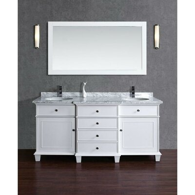 60 Double Sink Bathroom Vanity Set with Mirror Base Finish: White