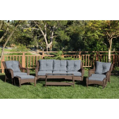 Herrin 6 Piece Wicker Seating Group with Cushions Frame Finish: Espresso, Fabric: Steel Blue