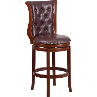 Millerstown 30.5 Swivel Bar Stool with Cushion Upholstery: Hepatic