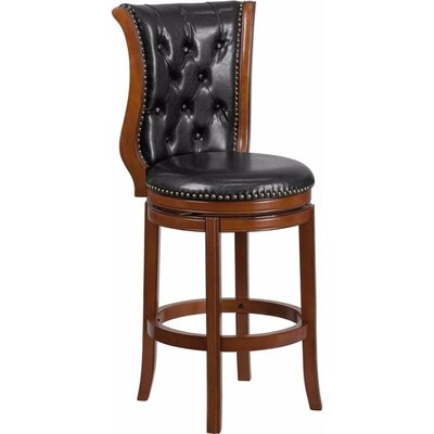 Millerstown 30.5 Swivel Bar Stool with Cushion Upholstery: Black