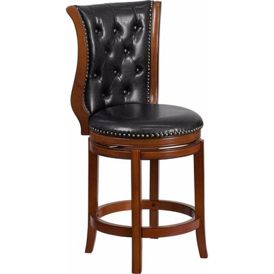 Millerstown 26.5 Swivel Bar Stool Upholstery: Black