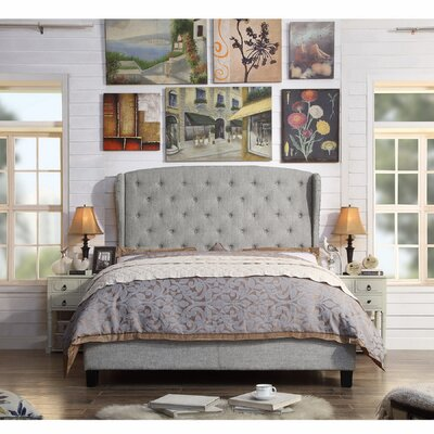Nielsen Upholstered Panel Bed Upholstery: Grey, Size: King