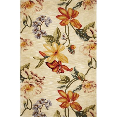 Lovejoy Beige Vines Area Rug Rug Size: 79 x 96