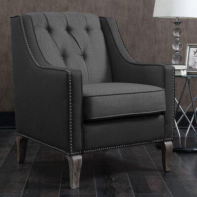Kaven Linen Leatherette Nailhead Armchair Upholstery: Black