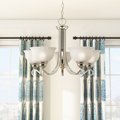 Halvorsen 5-Light Shaded Chandelier Finish: Brushed Nickel