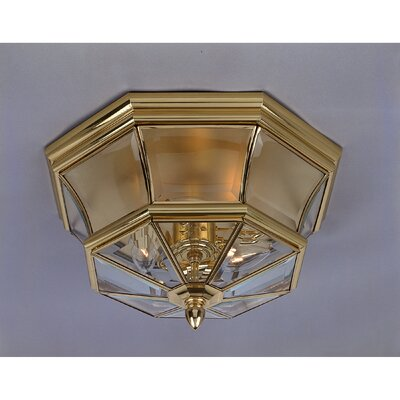 Saddler 3-Light Flush Mount Finish: Polished Brass