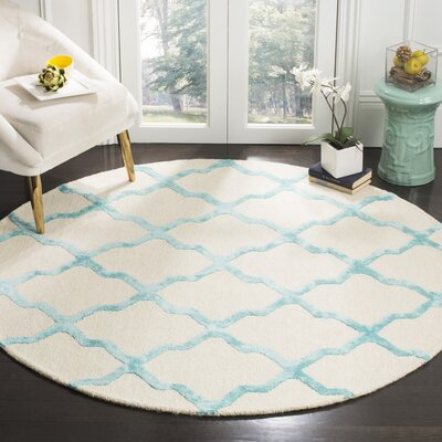 Parker Lane Hand-Tufted Ivory/Turquoise Area Rug Rug Size: Round 6 x 6