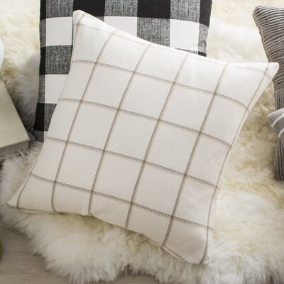 Temples Plaid Cotton Throw Pillow Color: Wheat, Size: 18x18