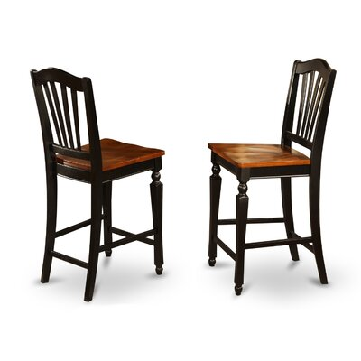 Ashworth 24 Bar Stool (Set of 2) Bar Stool Finish: Black and Cherry, Bar Stool Upholstery: Wood