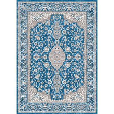 Aurore Traditional Style Ocean Blue Area Rug