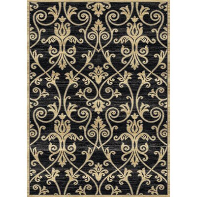 Audric Floral Black/Beige Area Rug