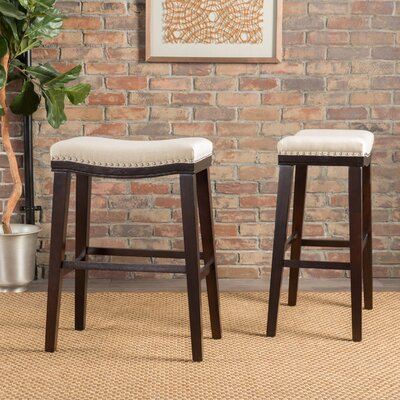Reyes 30 Bar Stool Upholstery: Fabric - Beige