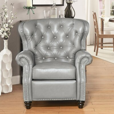 Bearup Top Grain Leather Pushback Recliner Upholstery: Gray