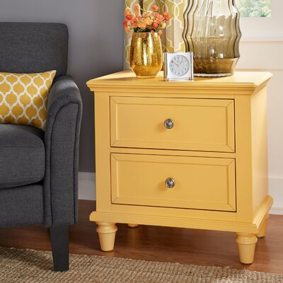 Isabella 2 Drawer Nightstand Color: Yellow