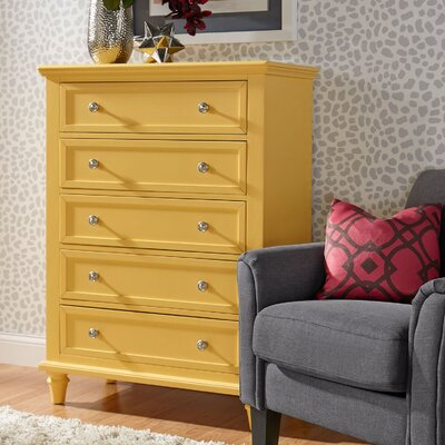 Isabella 5 Drawer Chest Color: Yellow