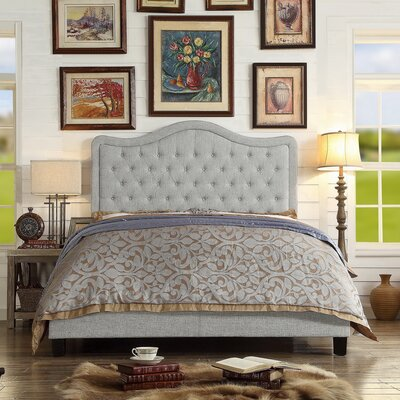 Turin Upholstered Panel Bed Upholstery: Gray, Size: Queen