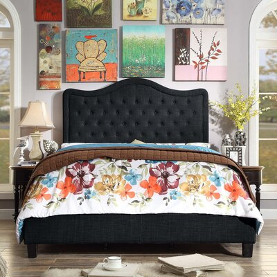 Turin Upholstered Panel Bed Upholstery: Charcoal, Size: Queen