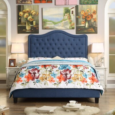 Turin Upholstered Panel Bed Upholstery: Classic Navy, Size: Queen