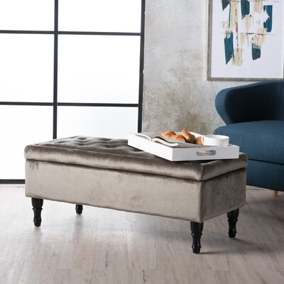 Higginbotham Upholstered Storage Ottoman Upholstery: Gray