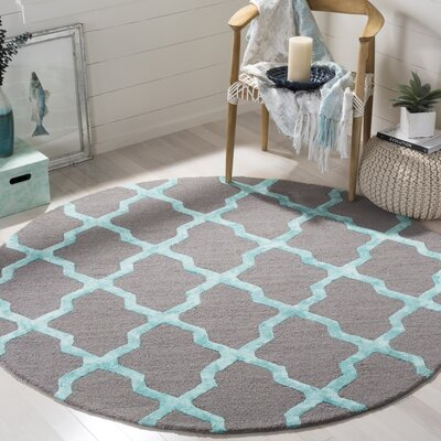 Parker Lane Hand-Tufted Gray/Turquoise Area Rug Rug Size: Round 6 x 6