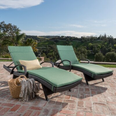 Luther Chaise Lounge with Cushion Color: Jungle Green