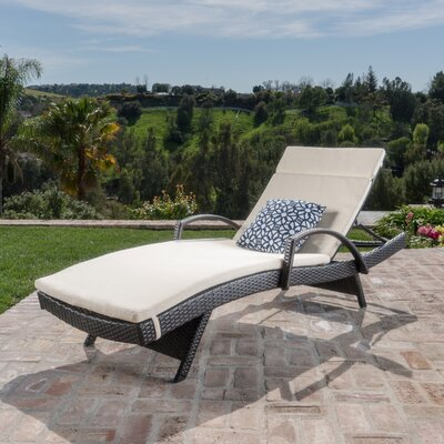 Luther Chaise Lounge with Cushion Color: Beige