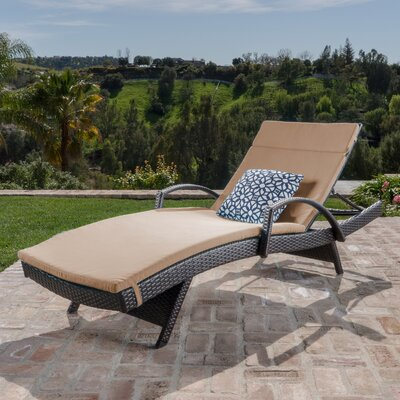 Luther Chaise Lounge with Cushion Color: Caramel