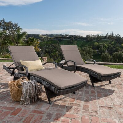Luther Chaise Lounge with Cushion Color: Charcoal