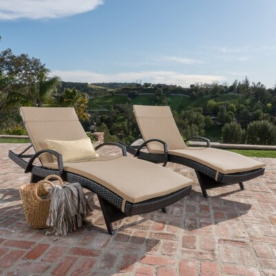 Luther Chaise Lounge with Cushion Color: Textured Beige