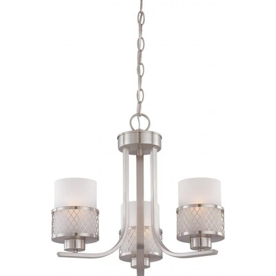 Lofton 3-Light Shaded Chandelier Finish / Glass Finish: Brushed Nickel / Frosted