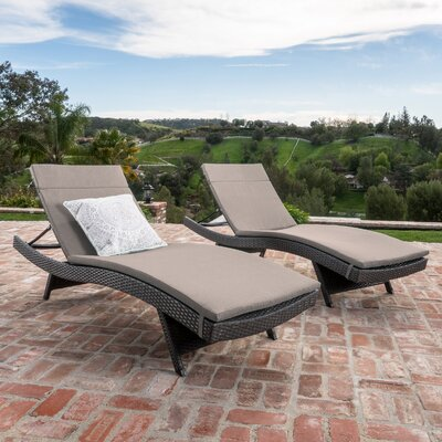 Peyton Adjustable Wicker Chaise Lounge with Cushion Color: Charcoal