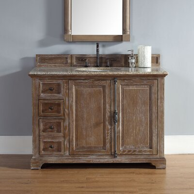 Belhaven 48 Single Driftwood Bathroom Vanity Set Top Finish: Absolute Black Rustic Granite Top