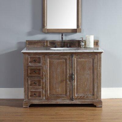 Belhaven 48 Single Driftwood Bathroom Vanity Set Top Finish: Carrera White Marble Top