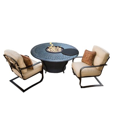 Owego 5 Piece Cast Aluminum Conversation Set with Cushions