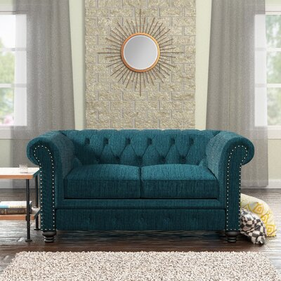 Lindstrom Tufted Chesterfield Loveseat Upholstery: Teal