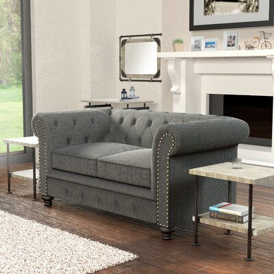 Lindstrom Chesterfield Loveseat Upholstery: Gray