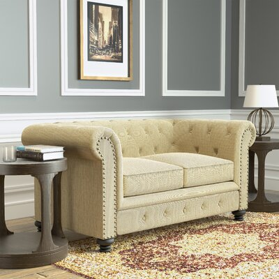 Lindstrom Tufted Chesterfield Loveseat Upholstery: Ivory