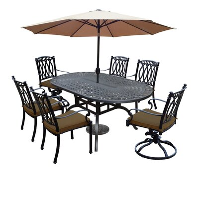 Otsego 7 Piece Rust Resistant Aluminum Dining Set with Cushions