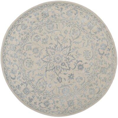 Daphne Hand-Tufted Gray/Beige Area Rug Rug Size: Round 6
