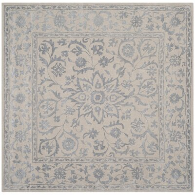 Daphne Hand-Tufted Gray/Beige Area Rug Rug Size: Square 6