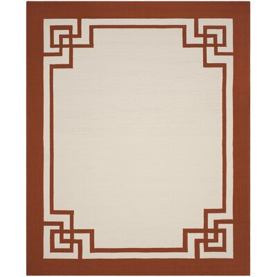 Ravenwood Hand-Hooked Off White/Sangria Indoor/Outdoor Area Rug Rug Size: Rectangle 8 x 10