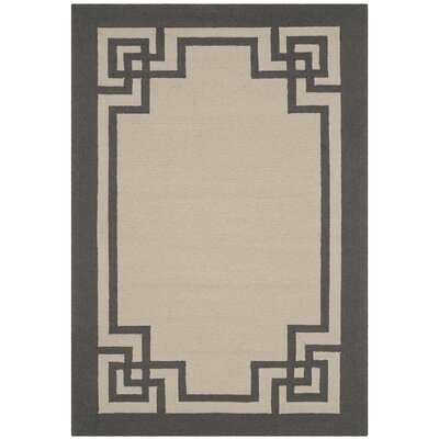 Reedsville Hand-Hooked Ivory/Charcoal Indoor/Outdoor Area Rug Rug Size: Rectangle 4 x 6