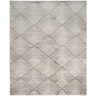 Pawlak Meredosia Hand-Knotted Gray Area Rug Rug Size: 8 x 10