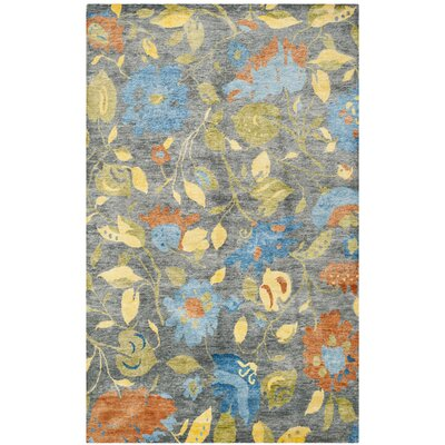 Bernick Hand Knotted Gray/Blue/Yellow Area Rug