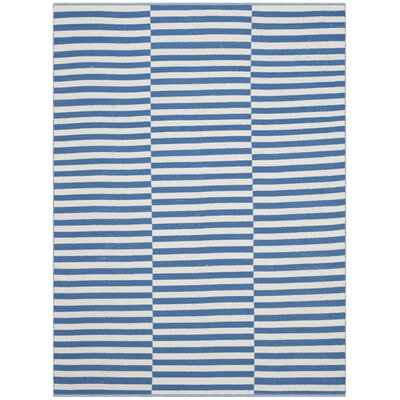 Orwell Hand-Woven Cotton Ivory/Blue Area Rug Rug Size: Rectangle 4 x 6